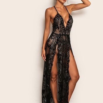 Joyfunear Plunging Neck High Split Sequin Sheer Halter Dress