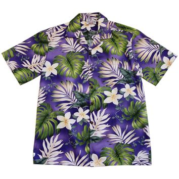 Amazon Purple Hawaiian Cotton Aloha Sport Shirt