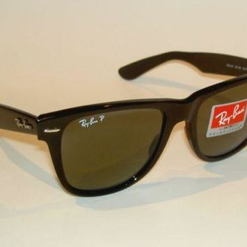 New RAY BAN Sunglasses Black WAYFARER Glass Polarized RB 2140 901/58 Large 54mm
