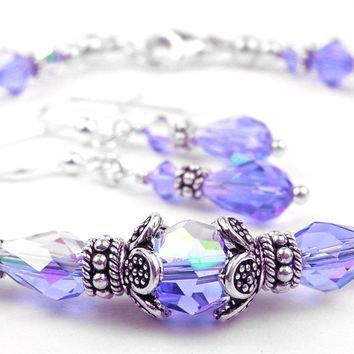 Solid Sterling Silver Bangle December Birthstone Bracelets & Earrings   in Simulated  Tanzanite