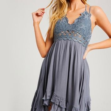 Speechless Scalloped Lace Bralette Mini Dress in Midnight Blue