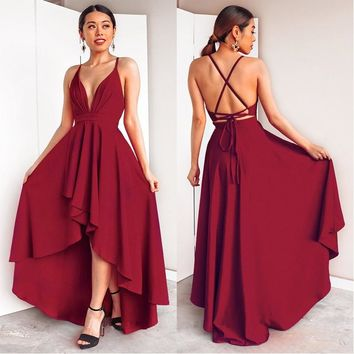 020f01eefcf56 Sexy Deep V-Neck Prom Dresses 2018 Criss-Cross Backless High/Low Banquet