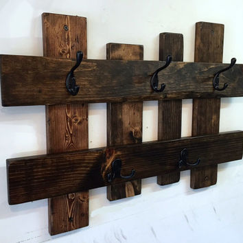 Reclaimed wood coat rack, entryway storage wall coat hook rack, towel rack, coat hanger, wall coat hooks, rustic coat rack, 5 hooks
