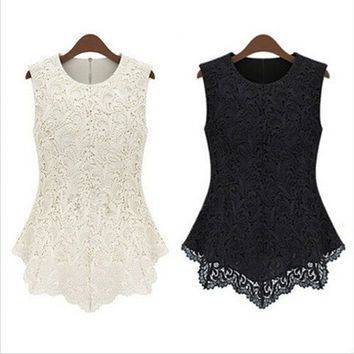 Irregular Sleeveless Embroidery Lace Top [8805124359]