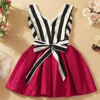 V-neck striped tutu dress stitching from Girl boutique