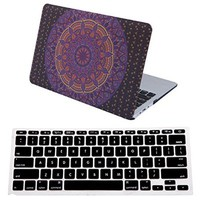 "HDE Macbook Air 11 Case Hard Shell Cover Solid Matte + Keyboard Skin for Apple Mac Air 11.6"" fits Model A1370 / A1465 (Mandala Purple Orange)"