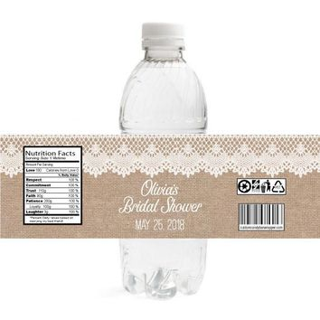 Burlap and Lace Bridal Shower Water Bottle Labels