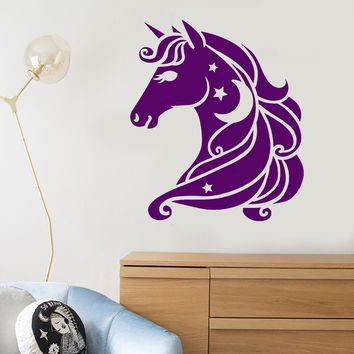 Vinyl Wall Decal Cartoon Pony Horse Head Unicorn Fairy Tale Stickers Unique Gift (2089ig)