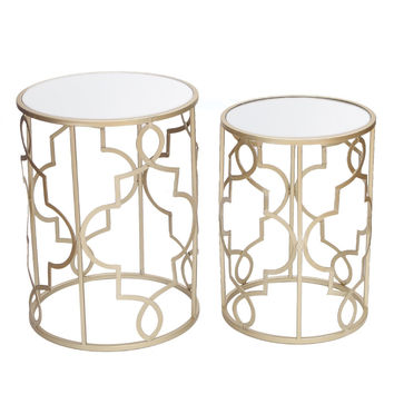 Adeco Classic Side Nesting Table Set (2 Pcs)-Gold Gold