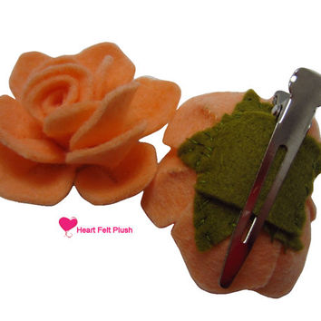 Rose Felt Flower Hair Clip Hand Sewn and Made to Order