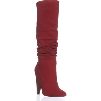 Steve Madden Carrie Heeled Knee High Boots, Red Suede, 8.5 US