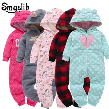 6M-24M Baby winter jumpsuit coral fleece baby pajamas Cotton Padded Thick Newborn toddler boy Girl romper baby Onesuit Overalls