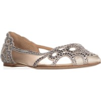 Badgley Mischka Gigi Pointed Toe Ballet Flats, Ivory, 11 US