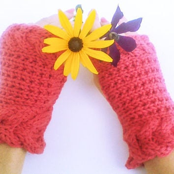 Rust red horseshoe cable gloves, delicate fingerless mittens, texting wrist cuffs, shabby chic mitts, rogue knitted arm cuffs