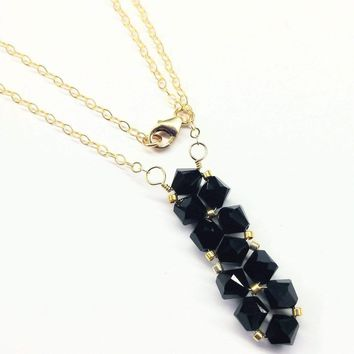 Gold Vertical Beaded Crystal Bar Necklace