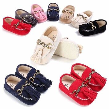 Tassel Baby Shoes Infant Boys Girls Moccasin Soft Sole Toddler Shoes Sneaker US