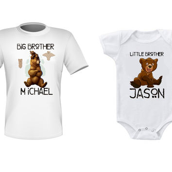 Personalized Brothers Baby Matching Shirts Brother Bear Big Little Brother