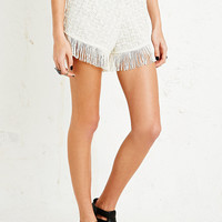 Staring at Stars Fringe Shorts in Ivory - Urban Outfitters