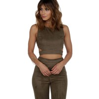 Promo- Olive On Your Mark Suede Crop Top