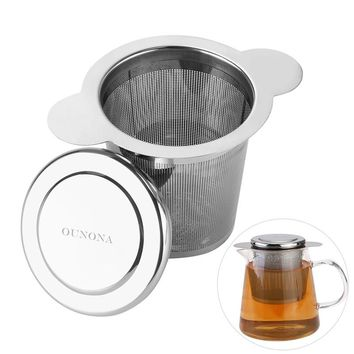 Stainless Steel Filtering Loose Leaf Tea Infuser Basket with Lid for Cups and Mugs