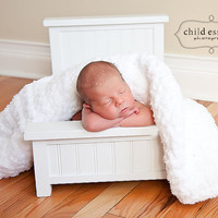 "Soft Fluffy Terry Cloth-like Baby Blanket, Baby Wrap, Baby Swaddler 33"" x 33"" - Snow White Thick Photography Prop Gender Neutral Blanket"