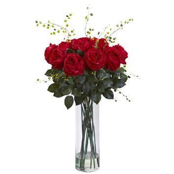 Artificial Flowers -Giant Fancy Red Rose And Willow Arrangement Artificial Plant