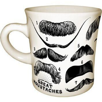 Great Mustaches Mug - 14 Mustaches including Mark Twain, Lao Tzu, Leon Trotsky, and Groucho Marx - Whimsical & Unique Gift Ideas for the Coolest Gift Givers