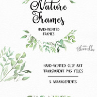 5 Watercolour Leaf Frame Clipart - Wild Hand Painted Herbs Green Spring INSTANT DOWNLOAD PNGs Wild Eucalyptus Leaves Digital Art Garlands