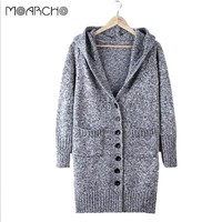 Women Hooded single-breasted cardigans long sleeve big pockets v neck sweater Casual Loose Knitted cardigan Female