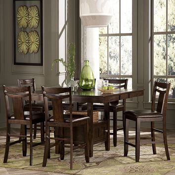 HomeVance Franklin 7-pc. Extendable Dining Table & Chair Set (Brown)