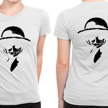 DCCK7H3 Luffy Strawhat One Piece Anime B 2 Sided Womens T Shirt
