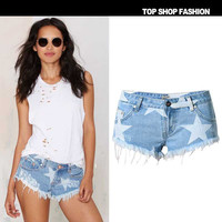 Women's Fashion Beach Mini Print Tassels Denim Pants [10734937935]