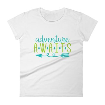 Adventure Awaits | Women's Ladies Short Sleeve T-Shirt | Burlap Bowtique