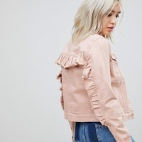 Only Coloured Denim Jacket With Ruffle Sleeve at asos.com
