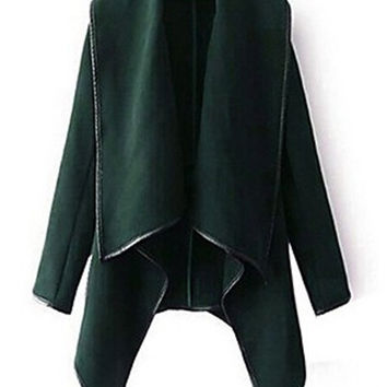 Long Sleeve Asymmetric Woolen Trench Coat