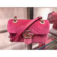 GUCCI Trending Ladies Double GG Metal Chain Crossbody Satchel Shoulder Bag Rose Red I