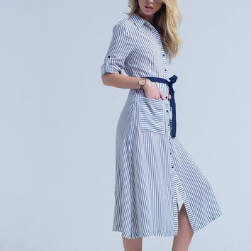 Navy blue midi striped dress