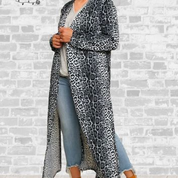 Long Cardigan Duster - Gray Cheetah - Medium only