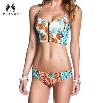 Female Sexy Pineapple Swimsuit Zipper Corset Bikini Thong Swim Wear Bathing Suit Swimwear Women Push Up Bikini