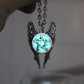 Antique Pentacle Angel Wings Pendant, Supernatural Luminous Necklace, GLOW in the DARK