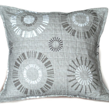 Tache Cotton 2 Piece Taupe Beige Starburst Throw Pillow Cushion Cover