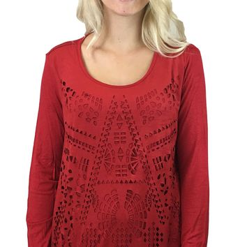 Tribal Long Sleeve Lazer Cut Out Top Regal Red
