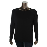 MICHAEL Michael Kors Womens Knit Zip Shoulders Pullover Top
