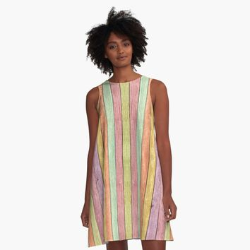 'Rainbow wood boards pattern, colorful theme' A-Line Dress by cool-shirts