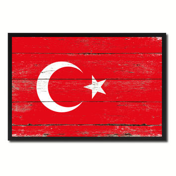 Turkey Country National Flag Vintage Canvas Print with Picture Frame Home Decor Wall Art Collection Gift Ideas