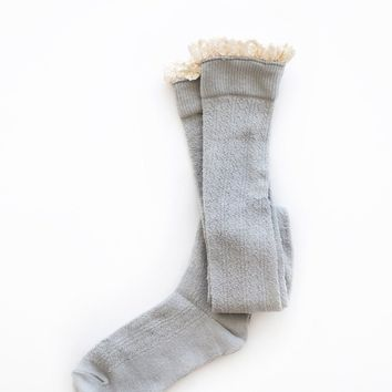 Haven Ruffle Grey Over-The-Knee Socks