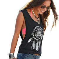 Fashion Dreamcatcher Pattern Vest Women Sexy Sleeveless T-Shirt Summer Ladies Casual Tank Tops Womens Shirts Black Plus Size #Z