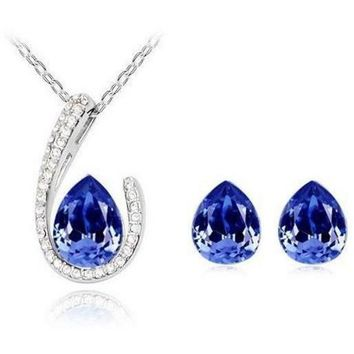 Horseshoe Necklace Earring set - Sapphire