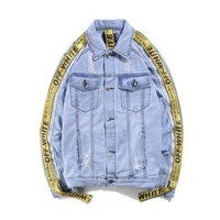 ONETOW Trendsetter Off-White Fashion Print Distressed Denim Cardigan Jacket Coat
