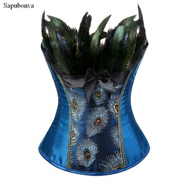 Sapubonva feather corsets bustiers top peacock embroidery brocade burlesque halloween overbust corset pattern womens sexy exotic